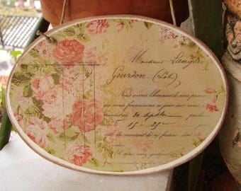 shabby roses,vintage oval sign, French typography image sealed onto wood with string to hang
