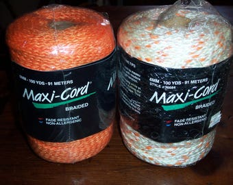 Orange and Orange Variegated 6mm Braided Maxi-Cord Macrame Cord...Lot of Two Spools..100yds Each..Braided Polypropylene..New in Package..