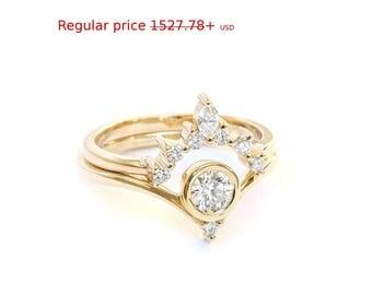 Summer Sale! Bindi Unique Engagement Diamond Ring Set, Romi Unique Diamond Side Wedding Band