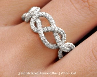 Triple Infinity Knot Ring, 0.75 CT Diamond Wedding Band, 14K Gold Wedding Ring, Cluster Ring, Art Deco Ring, Infinity Ring