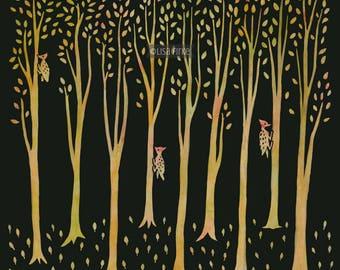 Three Woodpeckers, fine giclée by artist Lisa Firke