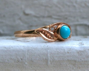 Antique Floral 14K Rose Gold Turquoise Ring Engagement Ring.