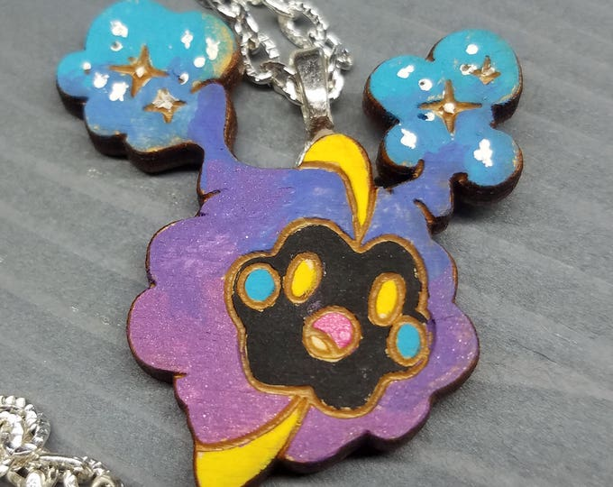 Hand Painted Cosmog Necklace | Laser Cut Jewelry | Handmade Necklace | Wood Jewelry