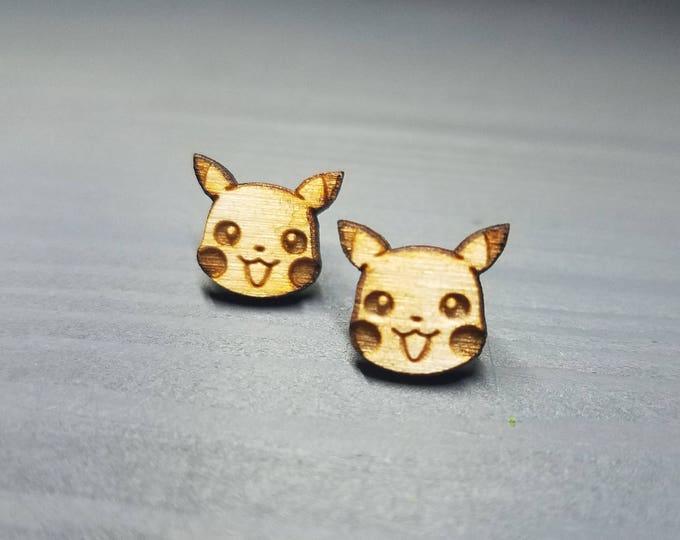 Cute Pikachu Face Pokemon Earrings   Laser Cut Jewelry   Hypoallergenic Studs   Wood Earrings