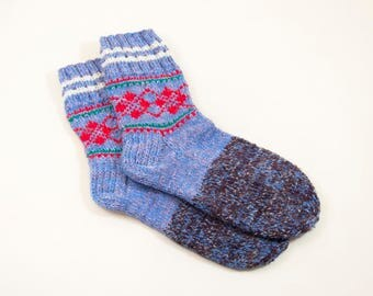 Hand Knitted Wool Socks - Blue and Lilac, Size Large