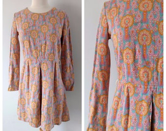 Vintage 1960s mini dress, floral mod dress, small