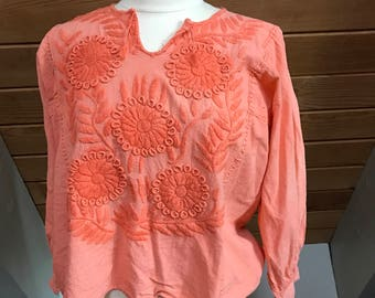 Vintage Melon Color Oaxacan Embroidered Corton Top Size Small