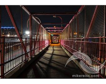 Williamsburg Bridge, bridge, night, dark, eerie, spooky, walkway, print, nyc, brooklyn, light, glow, atmosphere, surreal, beautiful, wow