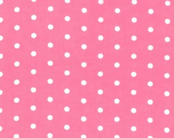 Snuggle Flannel Fabric - White Dots on Pink - 30 inches