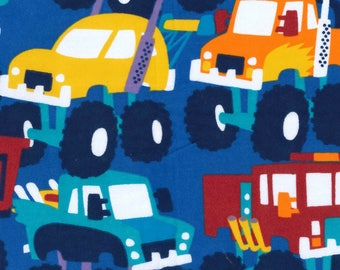 Snuggle Flannel Fabric - Multicolor Monster Trucks - 25 inches