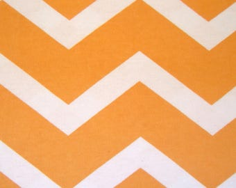 Snuggle Flannel Fabric - Orange White Chevron - Sold by the Yard