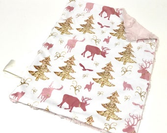 Pink and Gold Deer Baby Girl MINKY Lovey Blanket, MINI Minky Baby Blanket, Taggie Blanket, Glitter Christmas Woodland Lovey Blanket