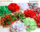 """ON SALE The Charlotte CHRISTMAS Collection - 3.5"""" Small Shabby Chiffon and Lace Puff Flowers - Red Green White Candy Cane Chevron Blossom Su"""