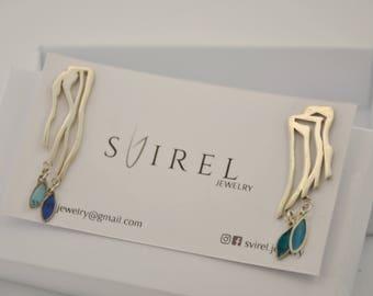 Light earrings, Simple earrings, Designed earrings, SVIREL earrings, Colored earrings, Plique-a-jour enamel, stained-glass enamel, Minimal