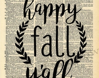 Vintage Dictionary Print - Happy Fall Y'all