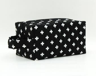 Cross Geometric Quilted Cosmetic Bag with Handle, Boxy Pouch; Boxy Bag; Make-Up Bag; Travel Bag; First Aid Kit; Shave Bag; Black, White,PINK