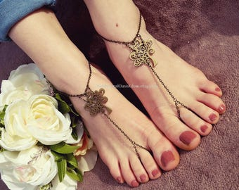 Whimsical Tree of Life Barefoot Sandals, Foot Jewelry, Tree of Life Jewellery, chain toe ring to anklet, slave anklet, Mystical Oasis Glow