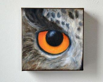 ON SALE Wildlife art, original oil on canvas, owl painting, Eurasian Eagle Owl, wall art, home decor - Eye See You series fourteen