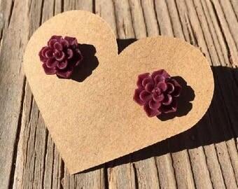 Burgandy Oxford Rose Bud Stud Earrings - Rose Bud Earrings - Rosebud Earrings - Resin Flower Roses Earrings - Luxie Creations