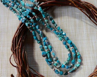 24 Inch Estate Jewelry Triple Strand Blue Diamond Turquoise Nugget Necklace