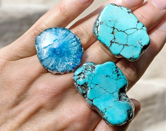 TURQUOISE SLAB RING - Silver Plated Adjustable -  Fits Most