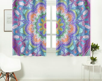 Mandala Assorted curtains- artistic handpainted design- 26x39 inches- 2 curtain panels- kitchen decor-room decor-home decor- ready to hang