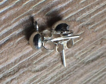 2 Sterling Silver Bali Ball Stud Ear Post Findings with butterflies for Jewellery Making