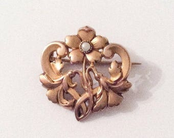 French Art Nouveau Brooch, Gold Fill, Pearl, Flower, Signed FIX, Vintage Jewelry SUMMER SALE