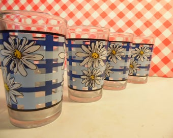 Vintage Daisy Juice Glasses -  Set Of 4 - Blue Plaid - Made In Indonesia - 6 Oz