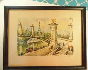Vintage Framed Eiffel Tower Print Le Port Alexander  - Signed Marius Girard