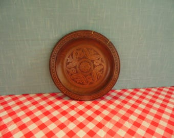 Vintage Folk Art Polish Plate - Wood Plate - 9.5 Inch - Made In Poland