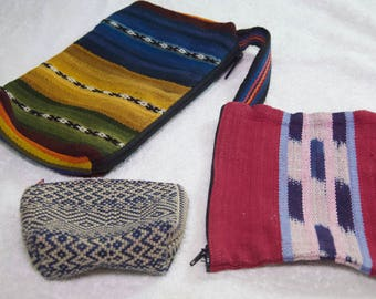 Set Of 3 Natural Woven Fabric Cosmetic Bags