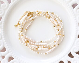 Bridal bracelet Ivory pearls bracelet Wedding bracelet Pearls bracelet Gold bracelet Biwa pearls bracelet Bridesmaid bracelet Bride gift 798