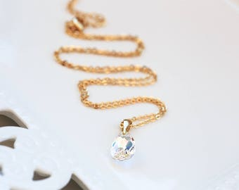858 Bridesmaid gift, SWAROVSKI crystal necklace, Gift for her, Drop white AB necklace, Gift teardrop gold necklace, Teardrop necklace,