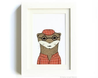 Otter Print by Hello Small World - 5x7 animal art, jaunty animal, animal in clothes, red plaid, illustrated animal prints