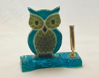 Vintage Mid Century,Mod,Lucite Owl Pen Holder,blue,green,Fountain Pen Holder
