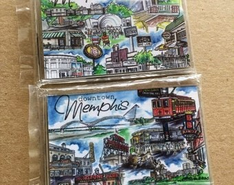 Set of Two Memphis Magnets // Downtown and Midtown Memphis TN // Memphis Collage Refrigerator Magnets