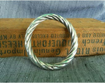 Vintage Twisted Sterling Silver Bangle Rope Bracelet
