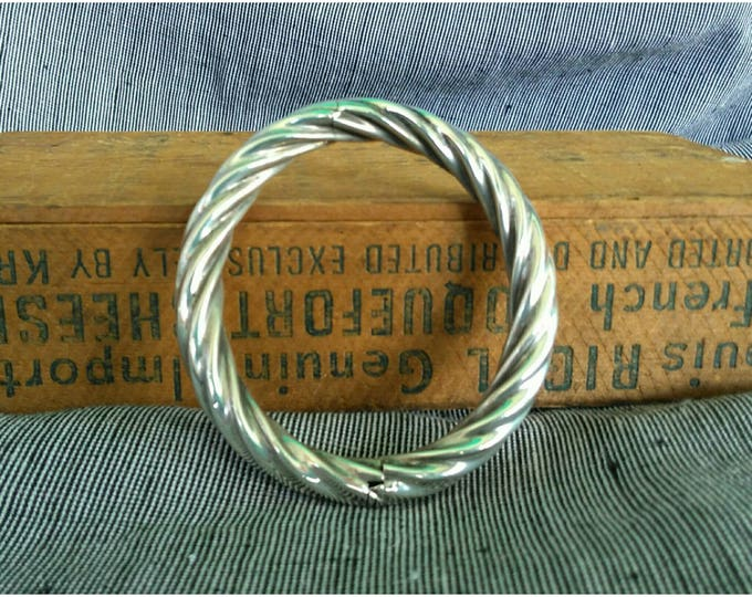 Featured listing image: Vintage Twisted Sterling Silver Bangle Rope Bracelet