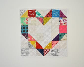 Rainbow Wall Hanging, Heart Quilt, Heart Wall Hanging, Mini Quilt, Rainbow Heart, Valentines Day