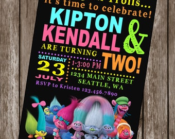 TROLLS INSPIRED Happy Birthday Party Invitations Set of 12 {1 Dozen} - Party Packs Available