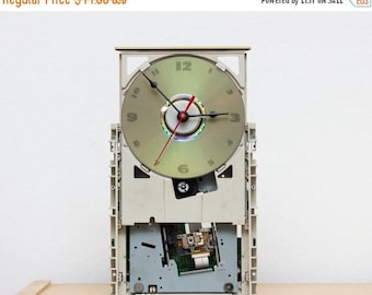 Wall / Desk clock - recycled Computer DVD drive - ready to ship c5968