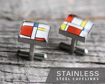 Mondrian Cufflinks, Stainless steel cufflinks, for men, art cufflinks, geometric cufflinks, Mens cufflinks, Gift for Him, wedding