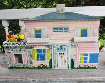 Vintage Metal Lithograph Doll House Two Story  Family Furniture 1950's