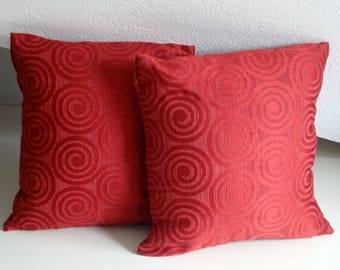 Red spiral pillow, elegant pillow cover, 16x16 inches, decorative pillows