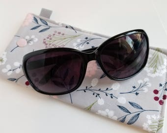 Padded Sunglass Case with Snap- Florals on grey