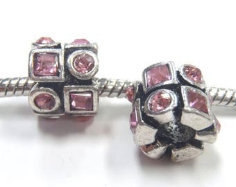 3 Beads - Light Pink Square Circle Silver European Bead Charm E1101