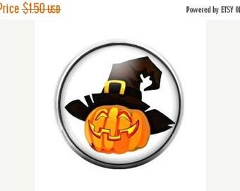 Pumpkin Jack o Lantern Witch Halloween- 18MM Glass Dome Candy Snap Charm GD0054