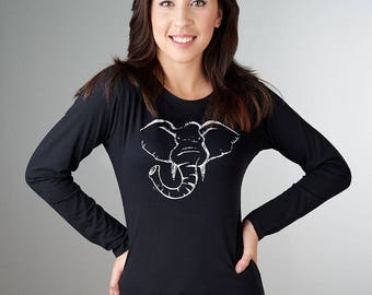Elephant Tshirt, Elephant T shirt, Long Sleeve Women's T shirt, Organic cotton Tshirt, Bamboo Tee Shirt, Elephant Shirts