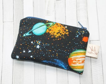 Coin purse, change purse, gift for boys, planets and stars, space